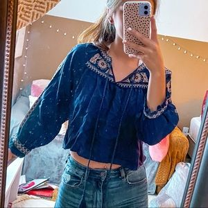Altar'd State Navy Blue Embroidered Sleeve Top S